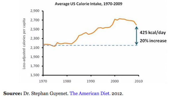 Average U.S. Calorie Intake Dr. Stephen Guyenet. The American Diet 2012
